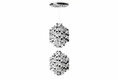 Spiral Medium Suspension Lamp in Silver by Verner Panton for Verpan