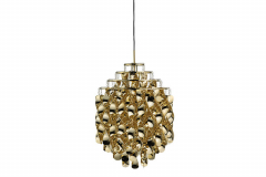 Spiral Pendant Lamp in Gold by Verner Panton for Verpan
