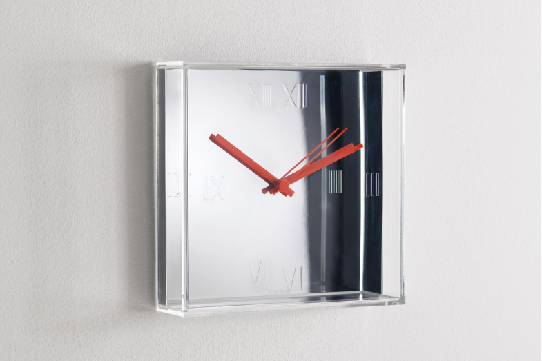 Tic&Tac Metallic Chrome Clock by Philippe Starck with Eugeni Quitllet for Kartell