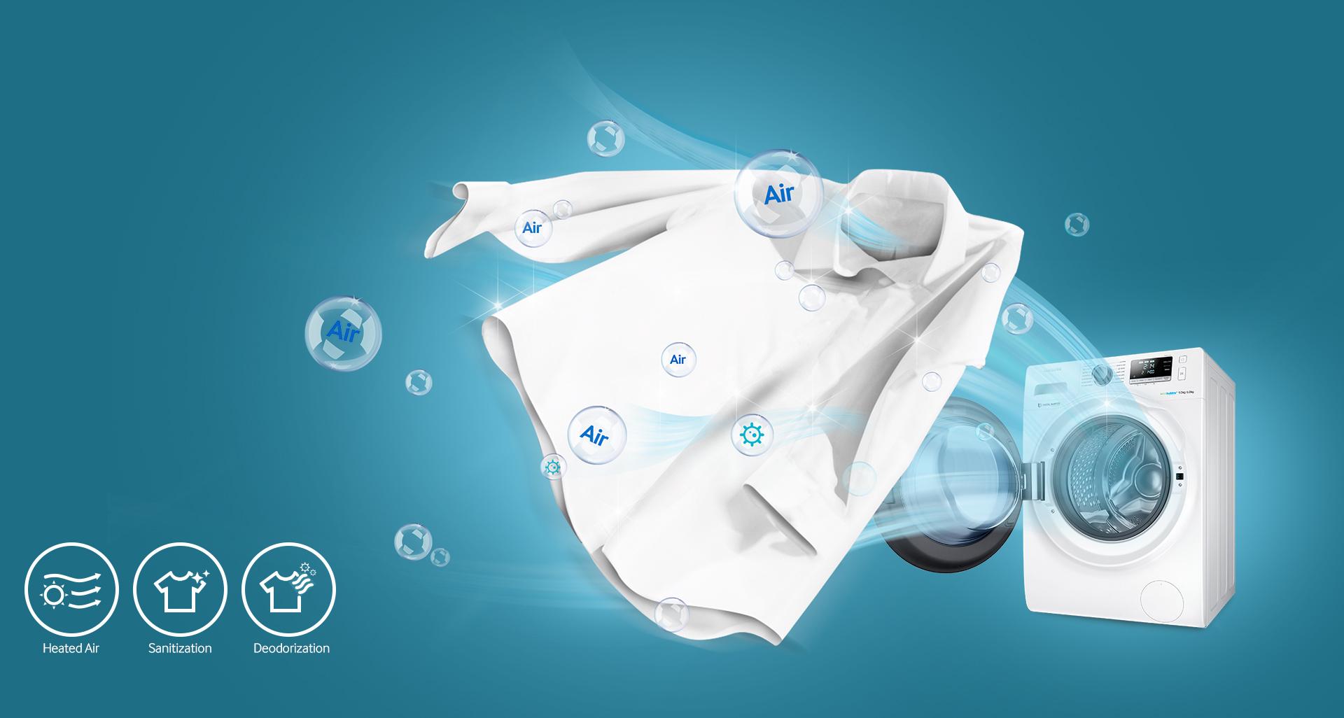 Samsung 8/6KG Washer Dryer WD80J6410AW/SP | Harvey Norman Singapore