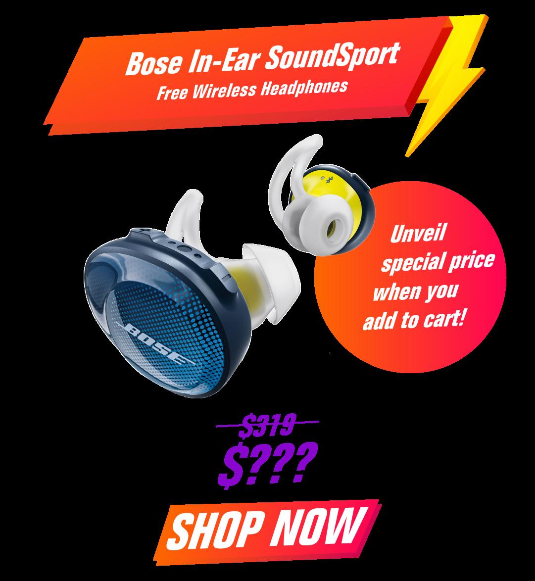 Bose In-Ear SoundSport Free Wireless Headphones - Navy Blue & Citron