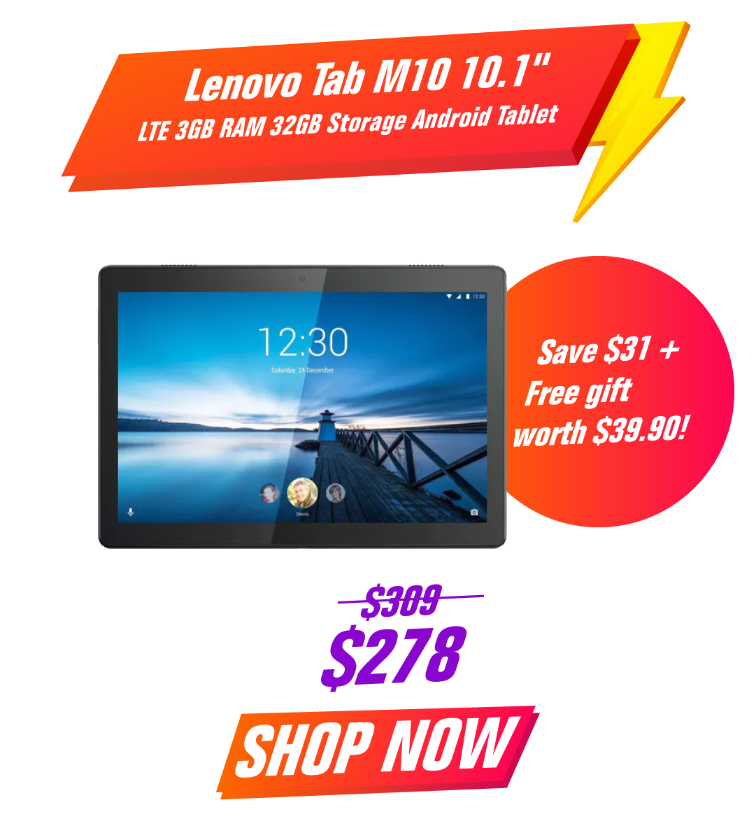 Lenovo Tab M10 10.1 LTE 3GB RAM 32GB Storage Android Tablet