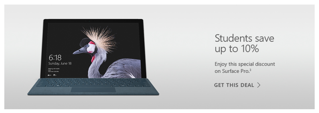 Students save 10% on selected Surface devices