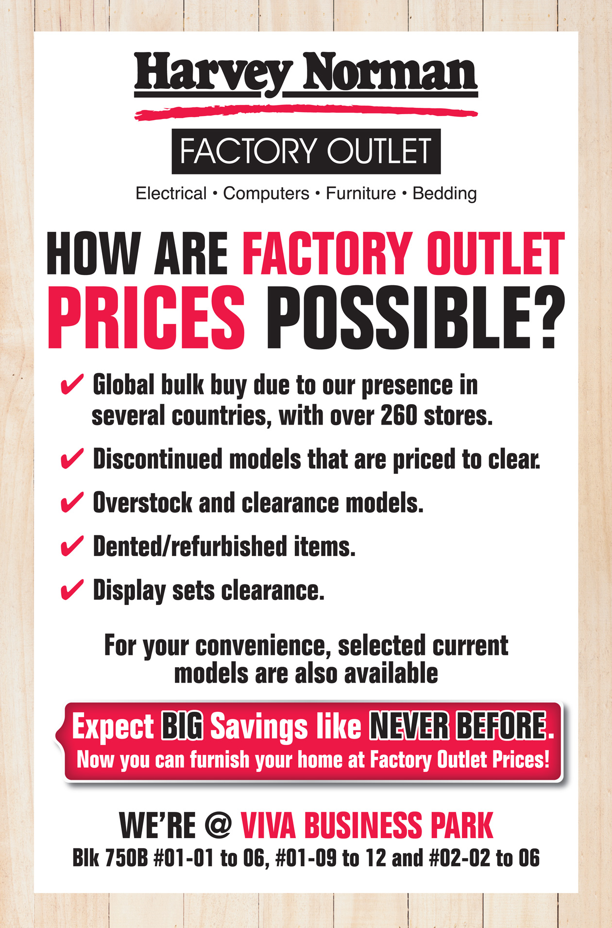 harvey norman factory outlet at viva business park
