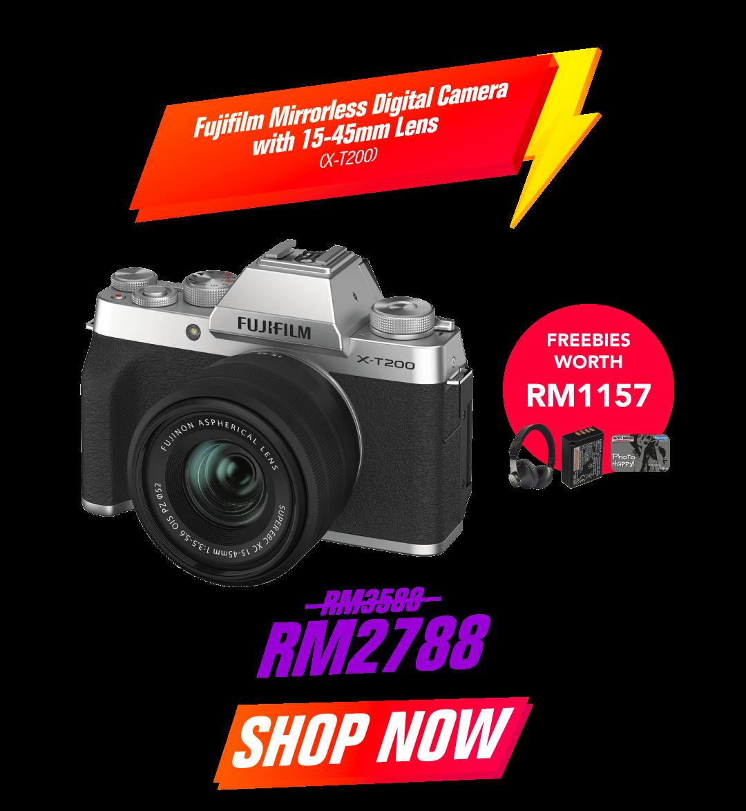 Fujifilm Mirrorless Digital Camera with 15-45mm Lens X-T200