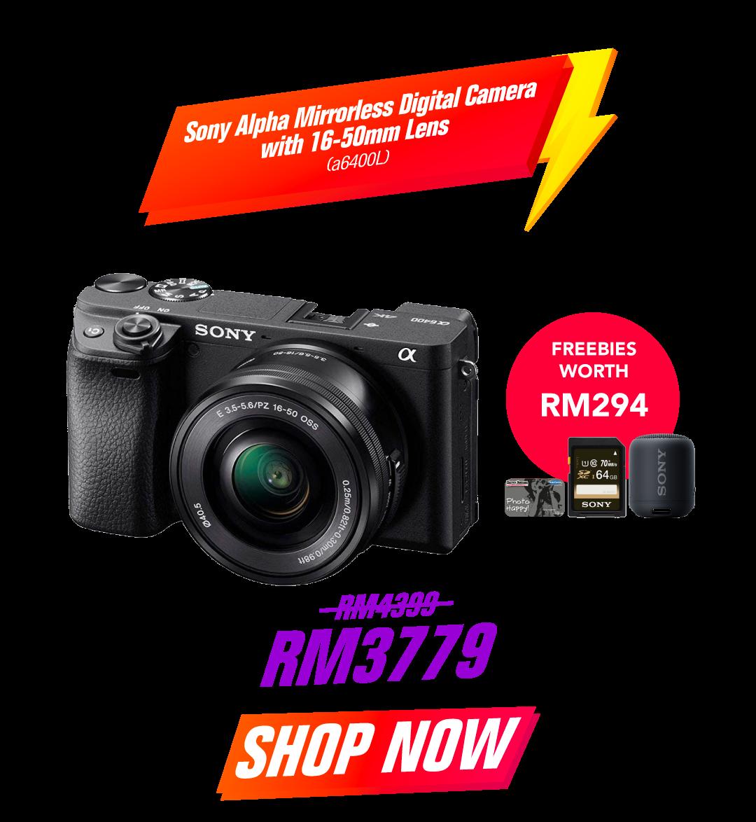 Sony Alpha Mirrorless Digital Camera with 16-50mm Lens a6400L