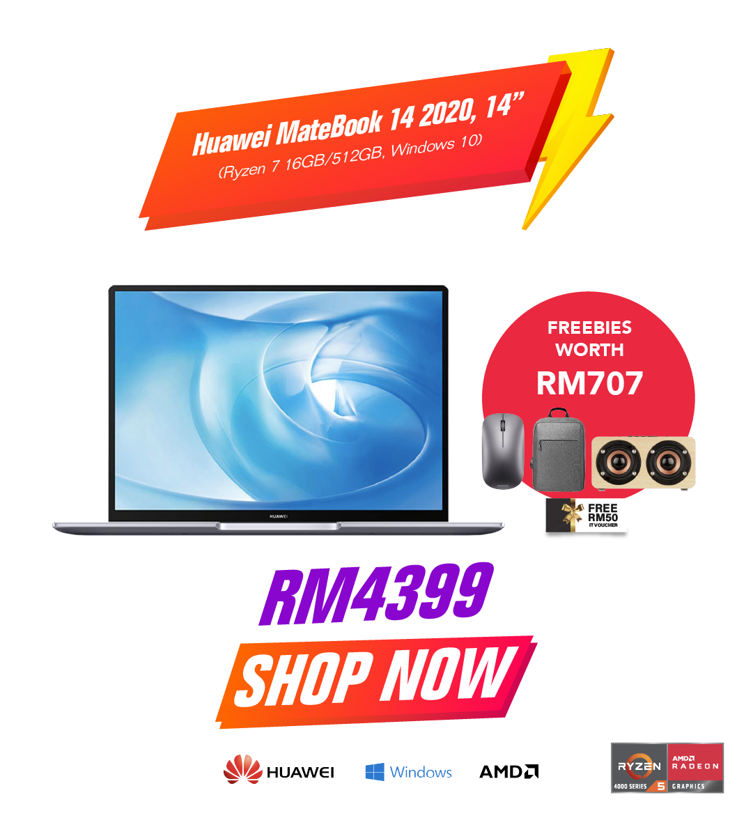 Huawei MateBook 14 2020 Ryzen 7 16GB/512GB Windows 10