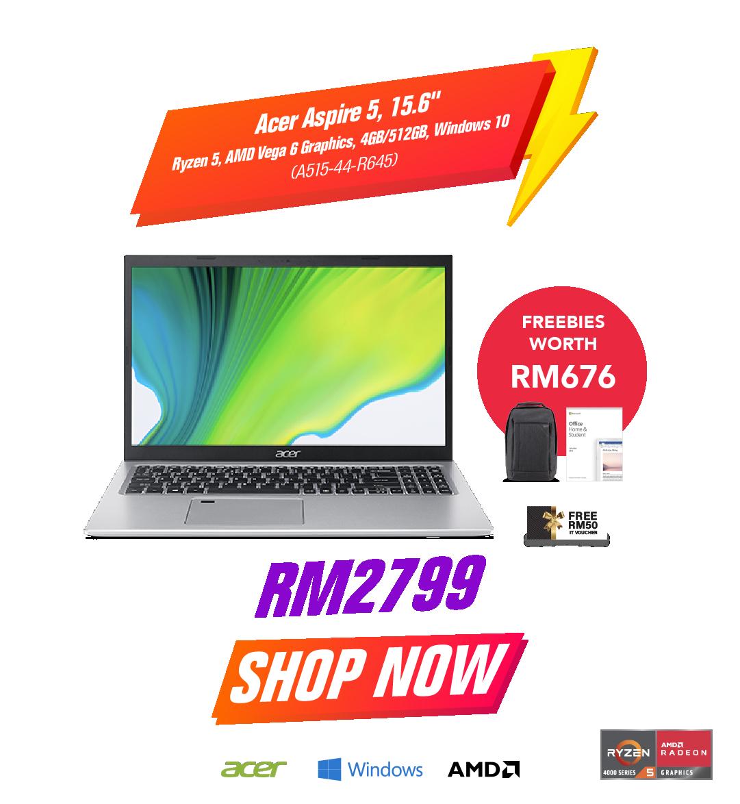 Acer Aspire 5 15.6 Ryzen 5 AMD Vega 6 Graphics 4GB/512GB Windows 10