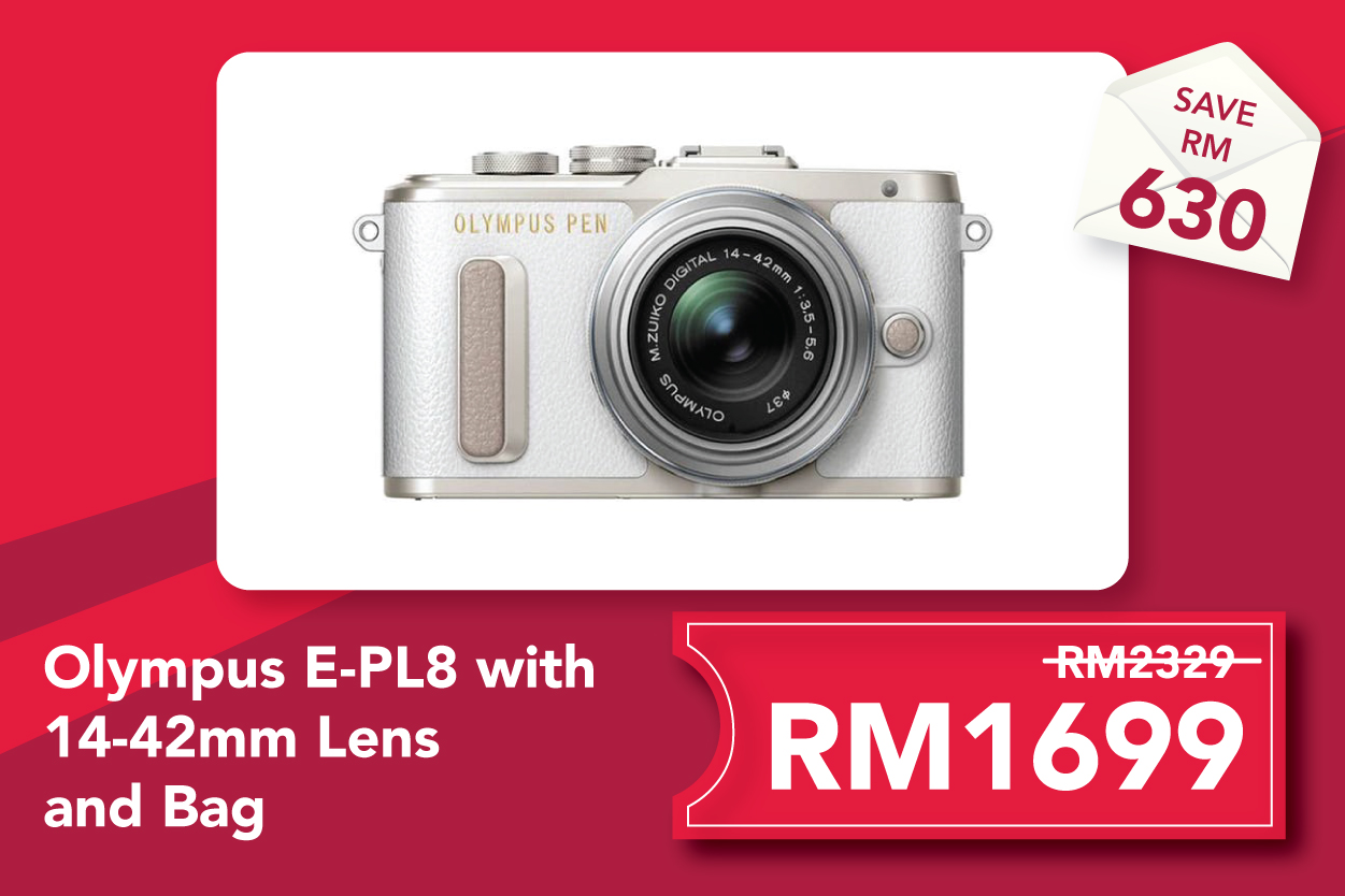 Olympus E-PL8 with 14-42mm Lens and Bag - White