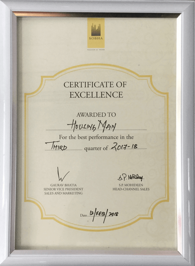 Certificate of excellence sobha 2