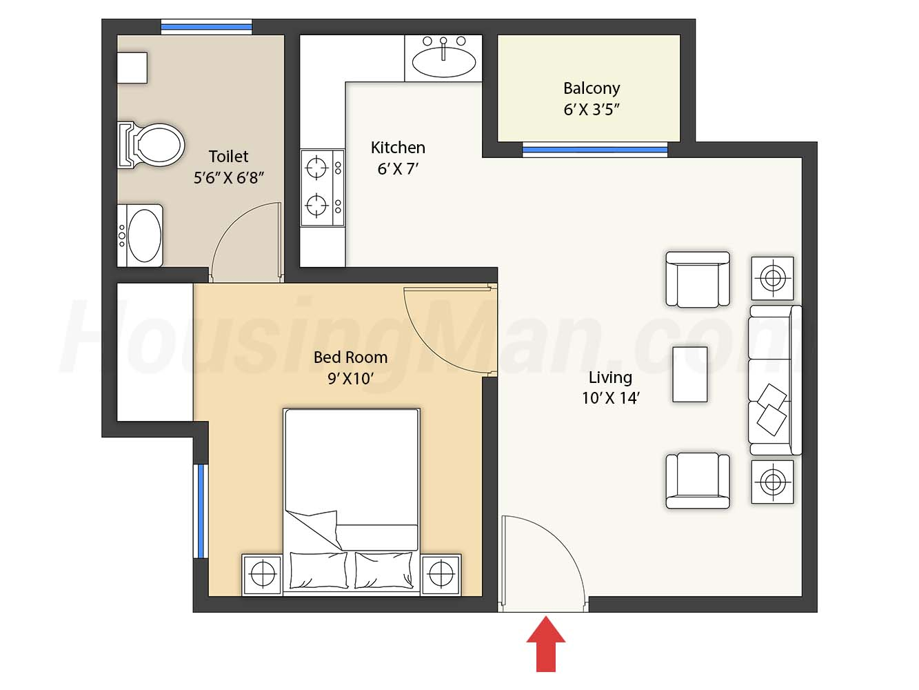 1bhk 1t 589 t