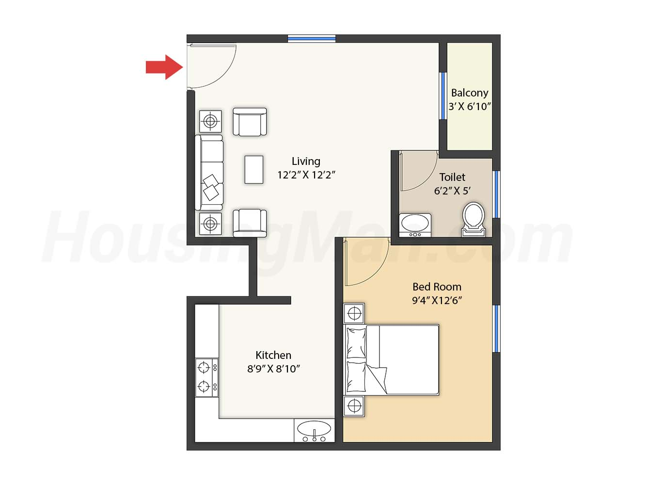 1bhk 1t 665 t