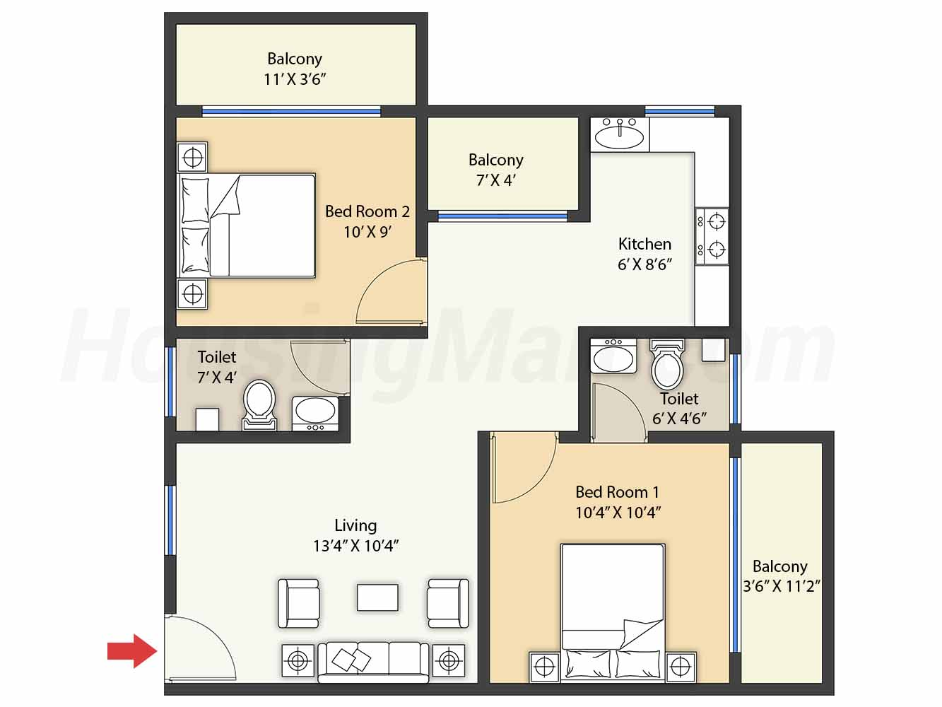 2bhk 2t 837 t