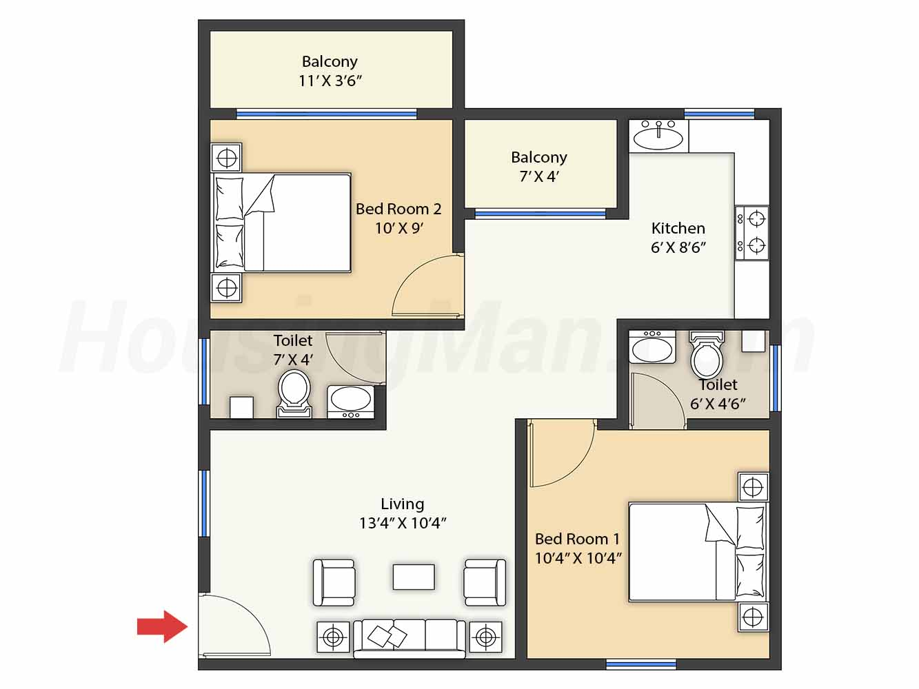 2bhk 2t 793 t