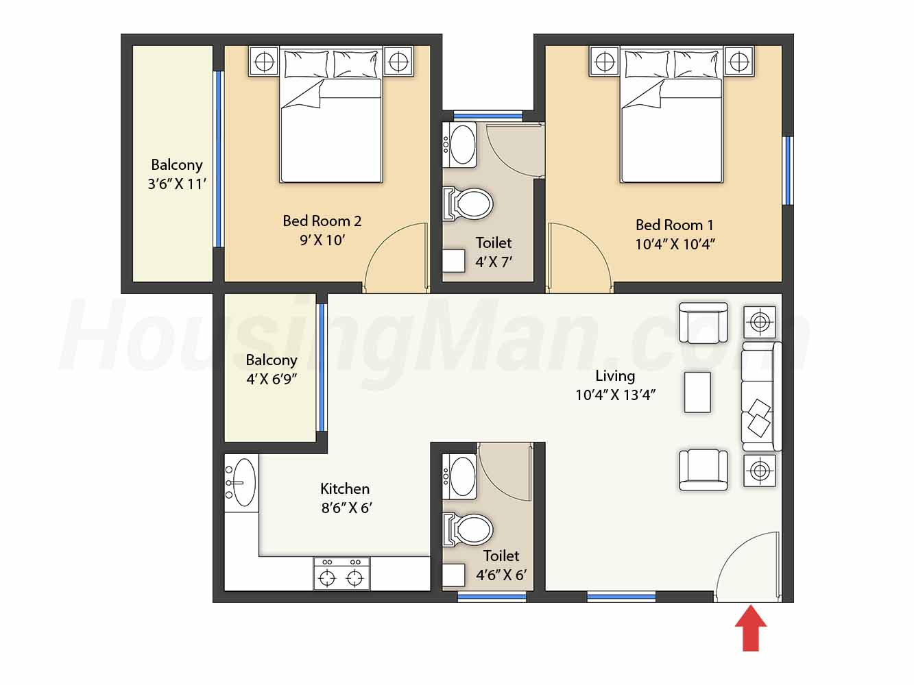 2bhk 2t 779 t