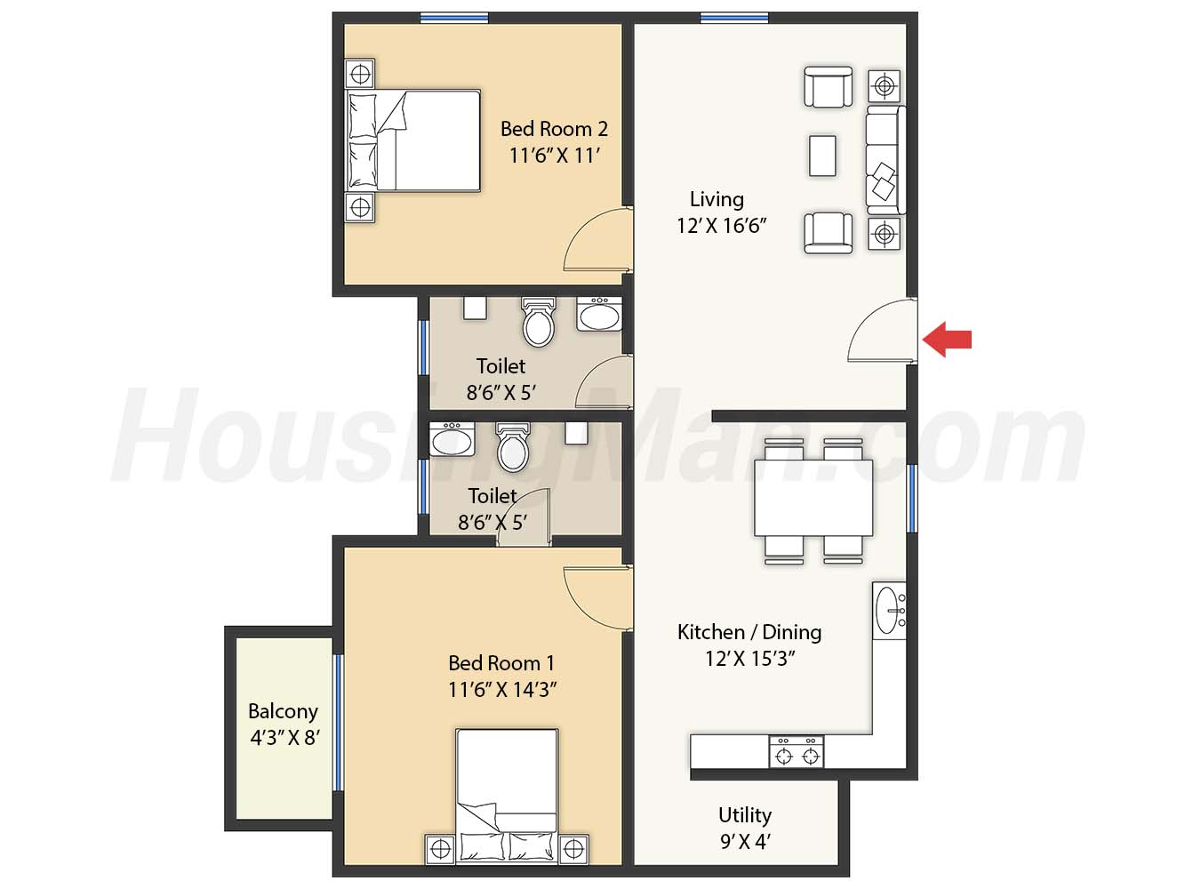 2bhk 2t 1155 t