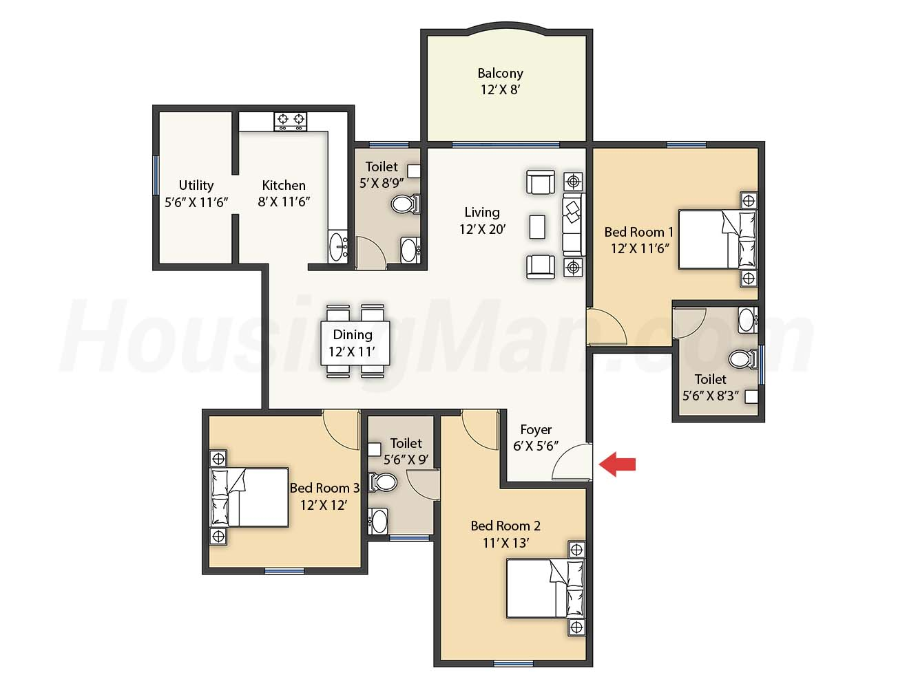3bhk 3t 1900 t