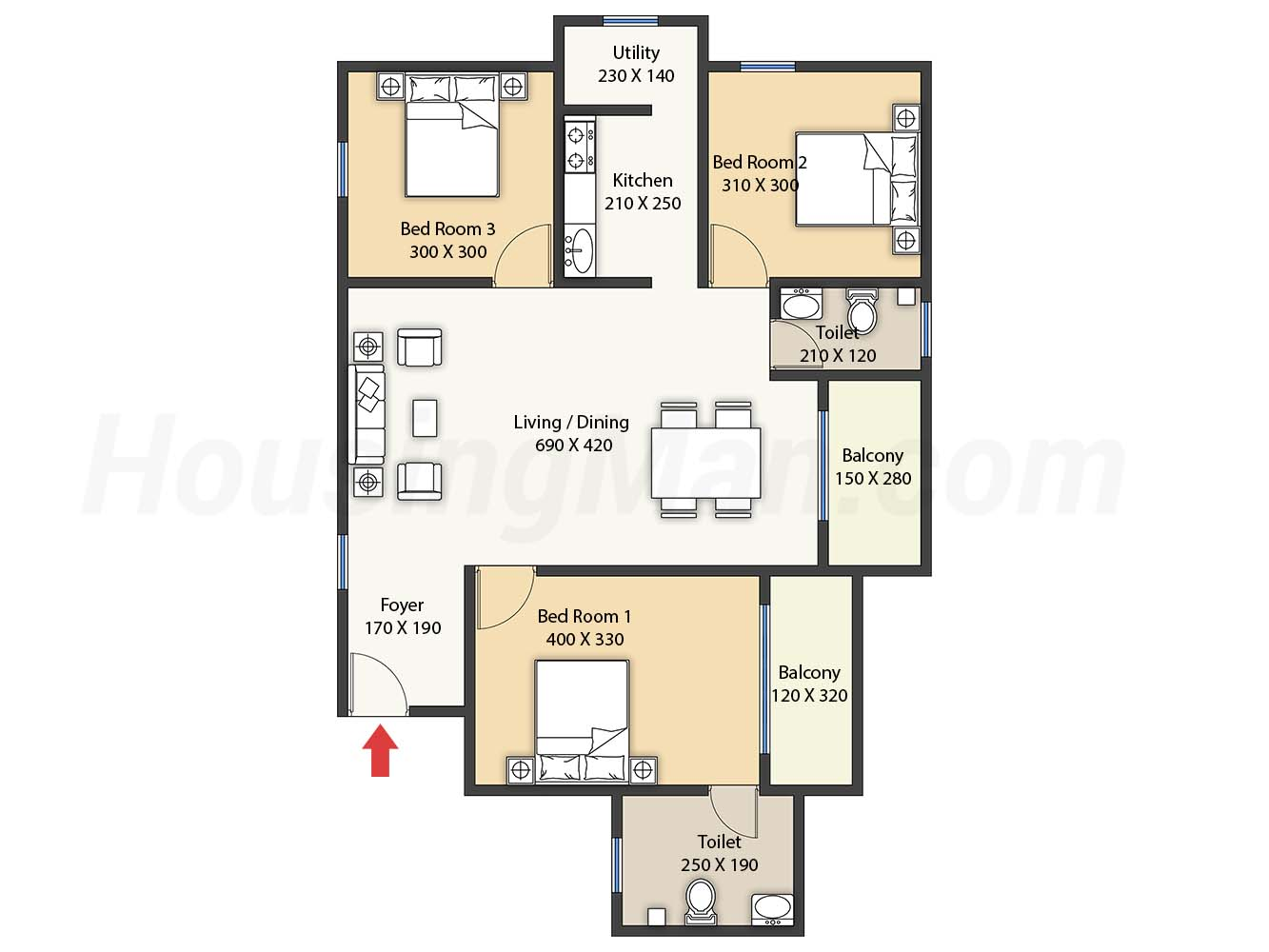 3bhk 3t 1231 t