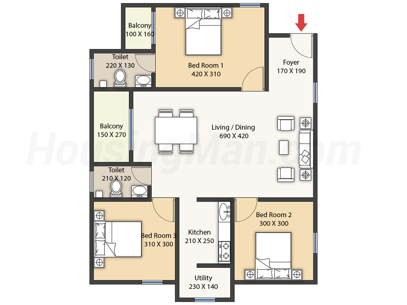 2bhk 2t 1180 t
