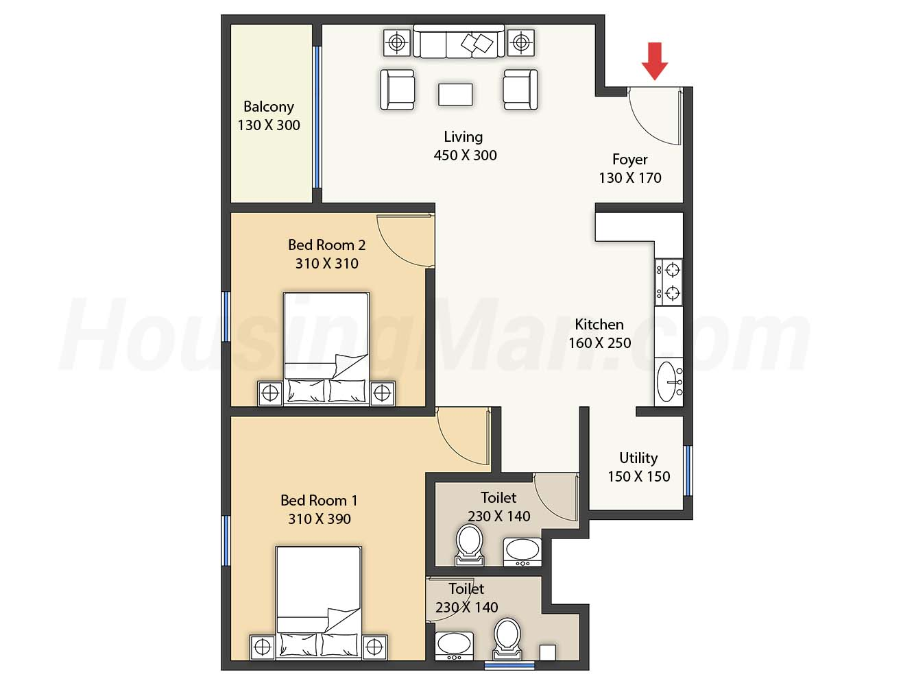 2bhk 2t 910 t