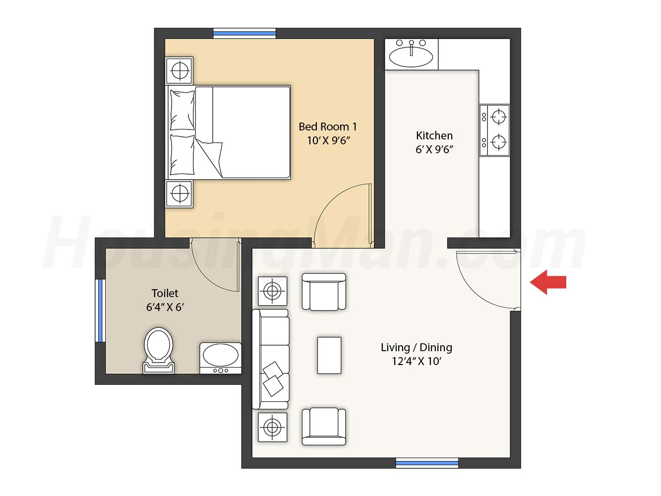 1bhk 1t 476 t