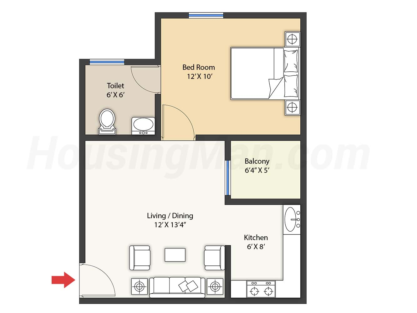 1bhk 1t 608 t