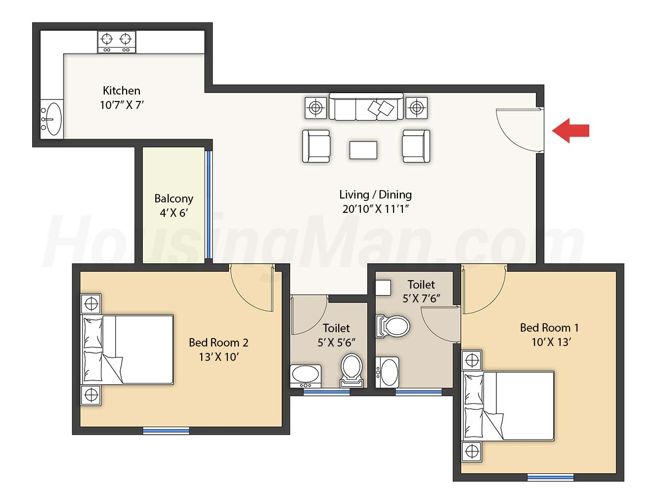 2bhk 2t 1023 t