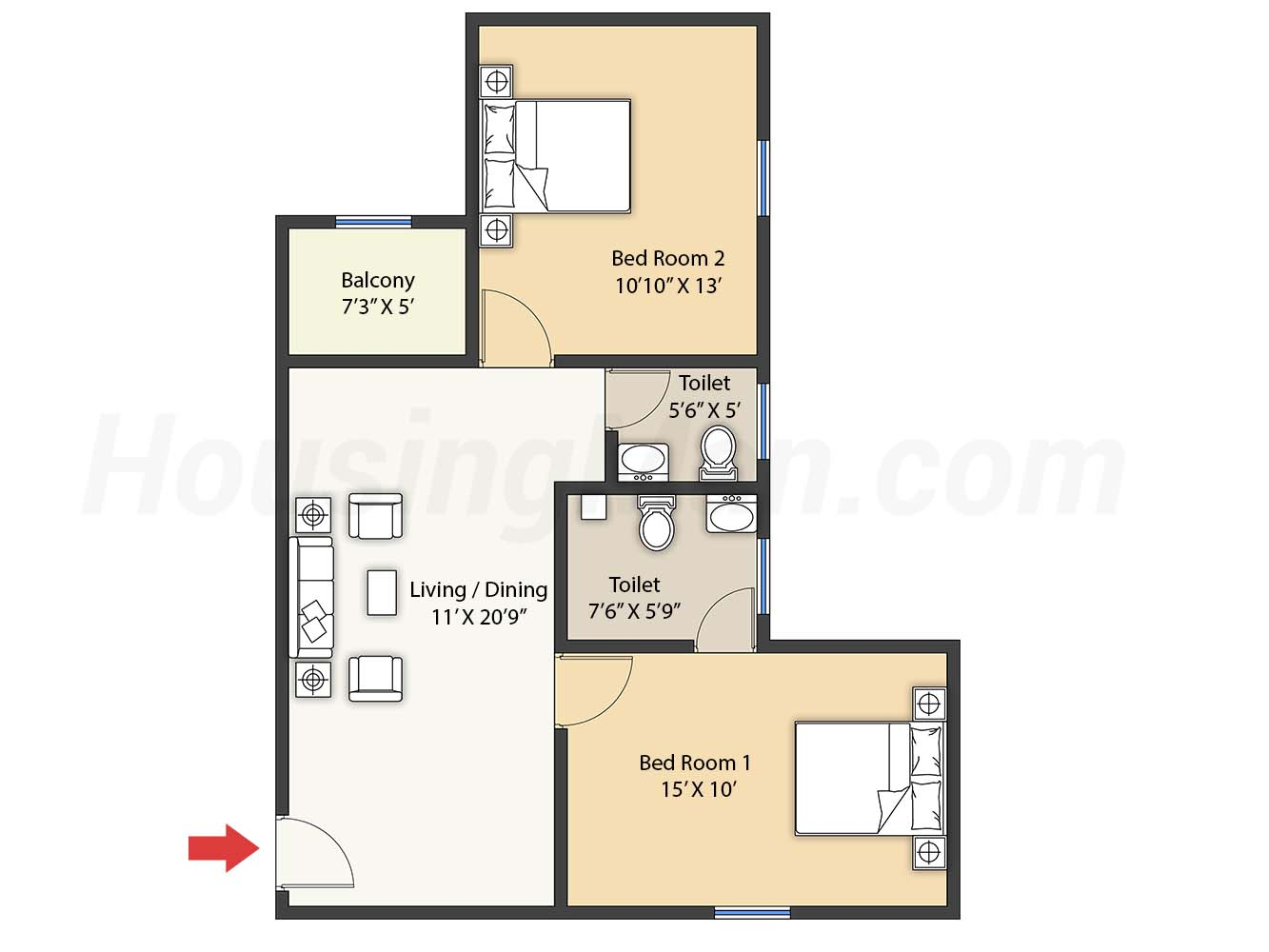 2bhk 2t 1050 t