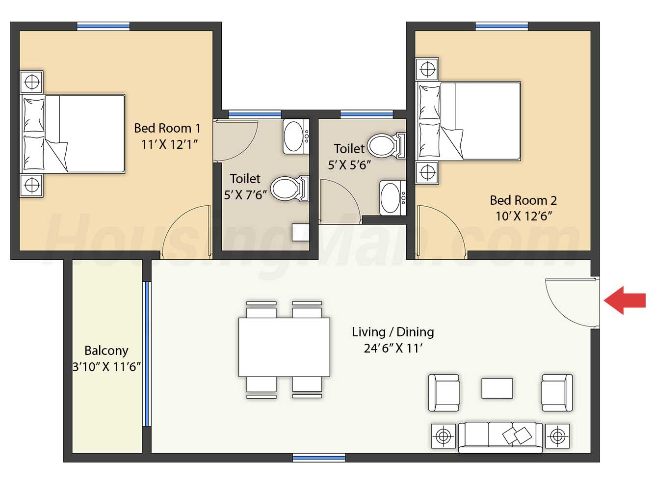 2bhk 2t 1071 t