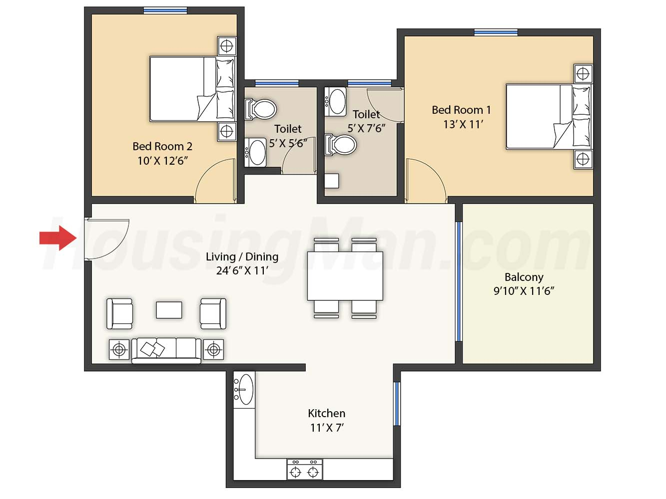 2bhk 2t 1090 t