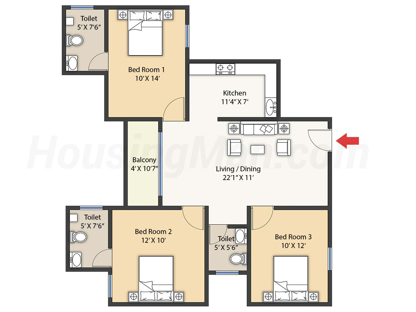 2bhk 2t 1305 t