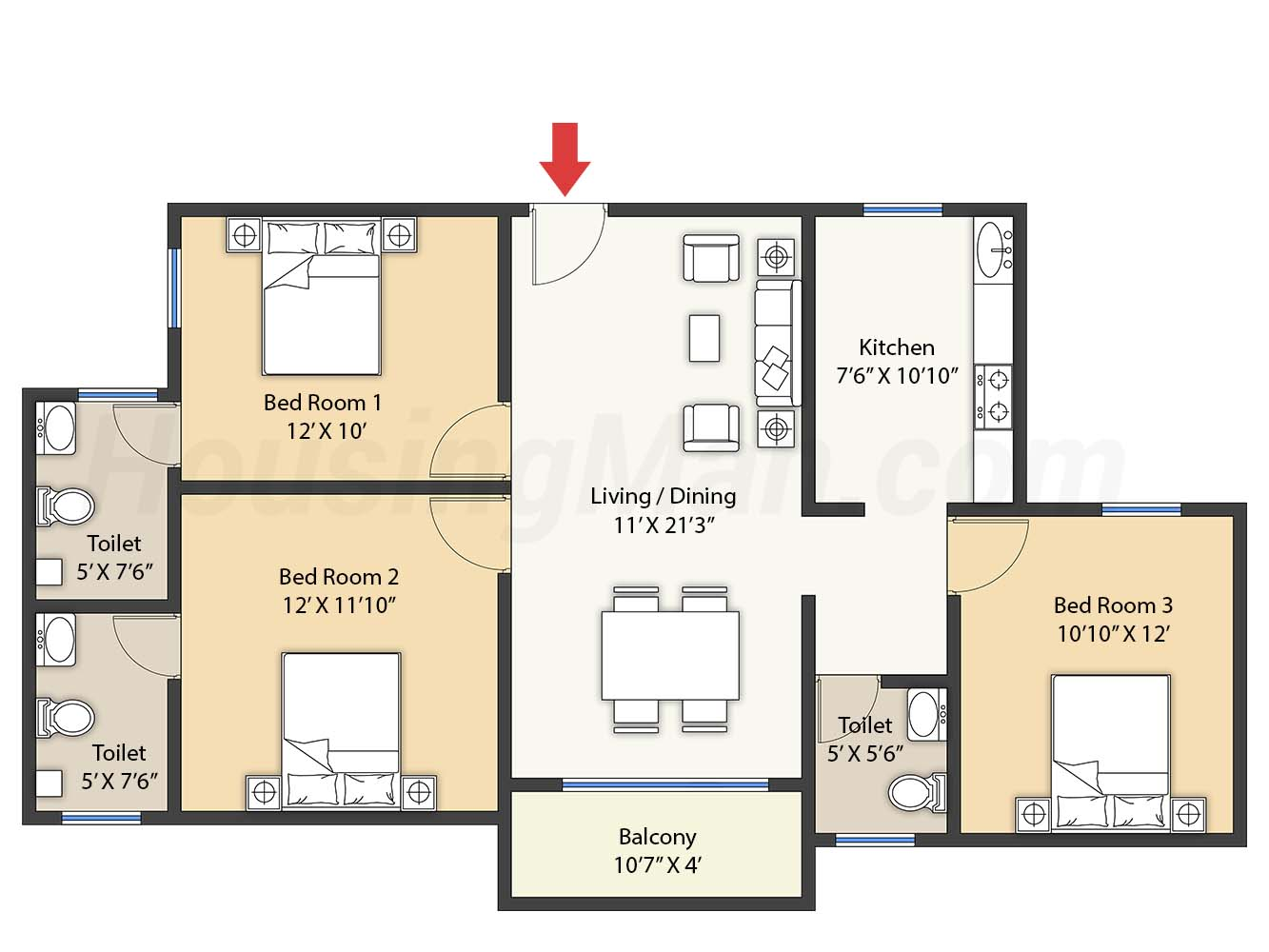 3bhk 3t 1310 t