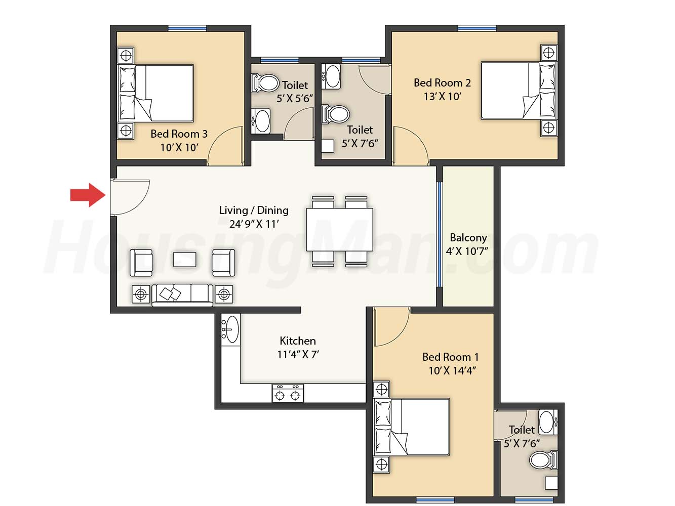 3bhk 3t 1318 t