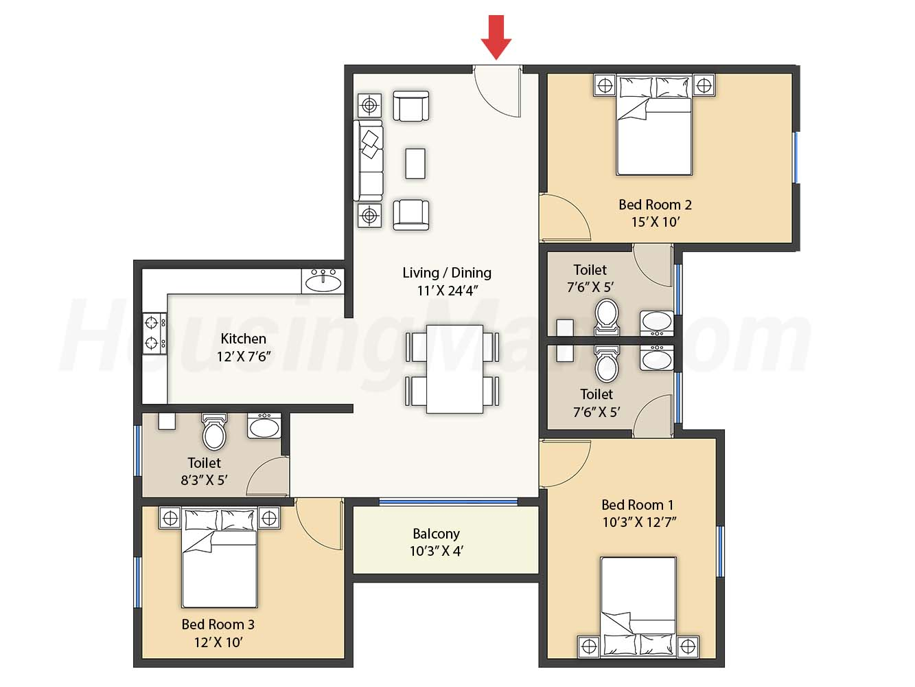 3bhk 3t 1386 t