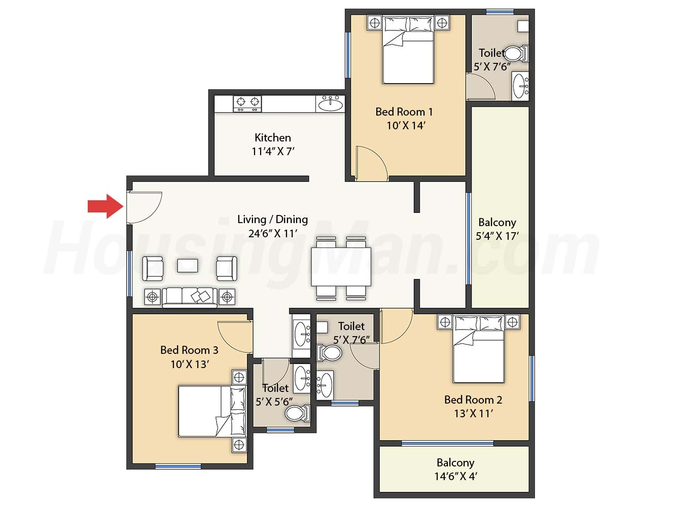 3bhk 3t 1477 t