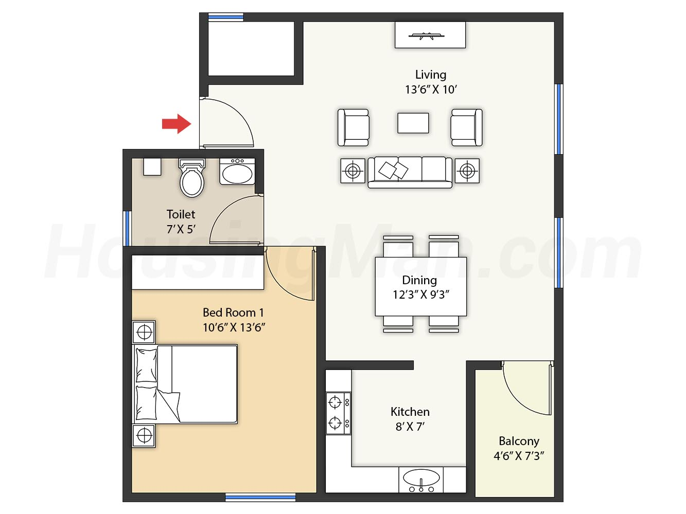 1bhk 1t 728 t