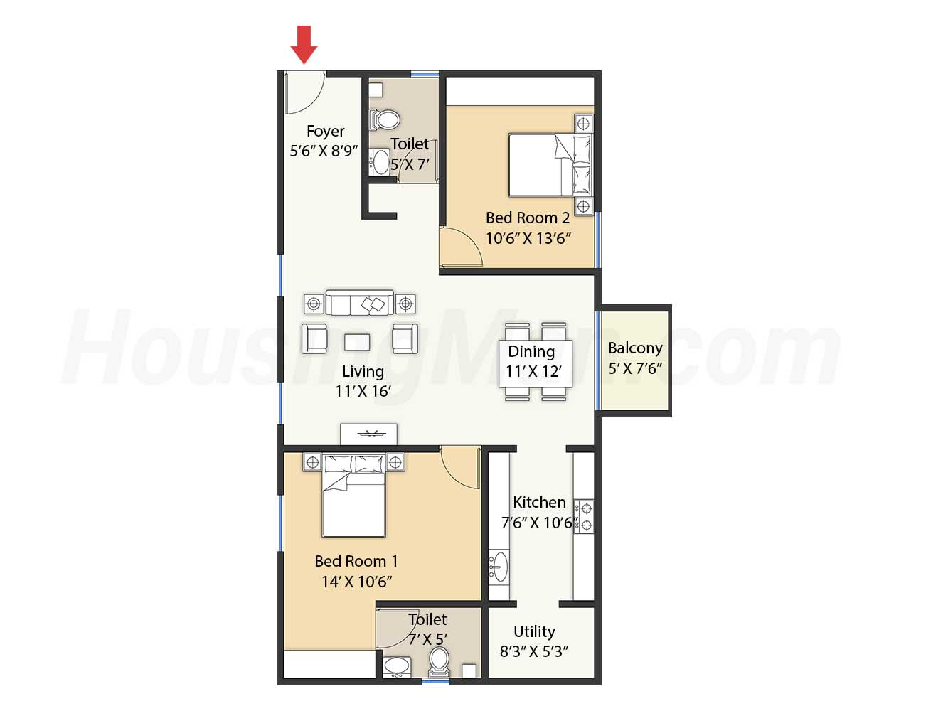 2bhk 2t 1235 t