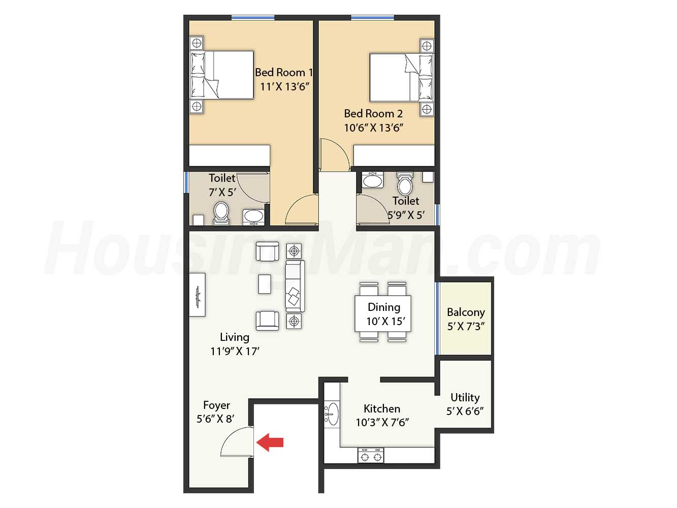 2bhk 2t 1264 t