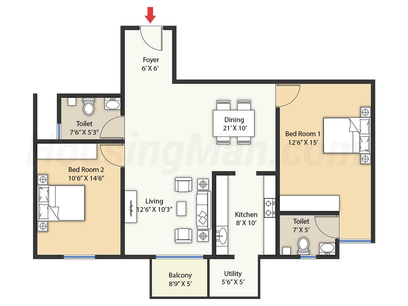 2bhk 2t 1273 t