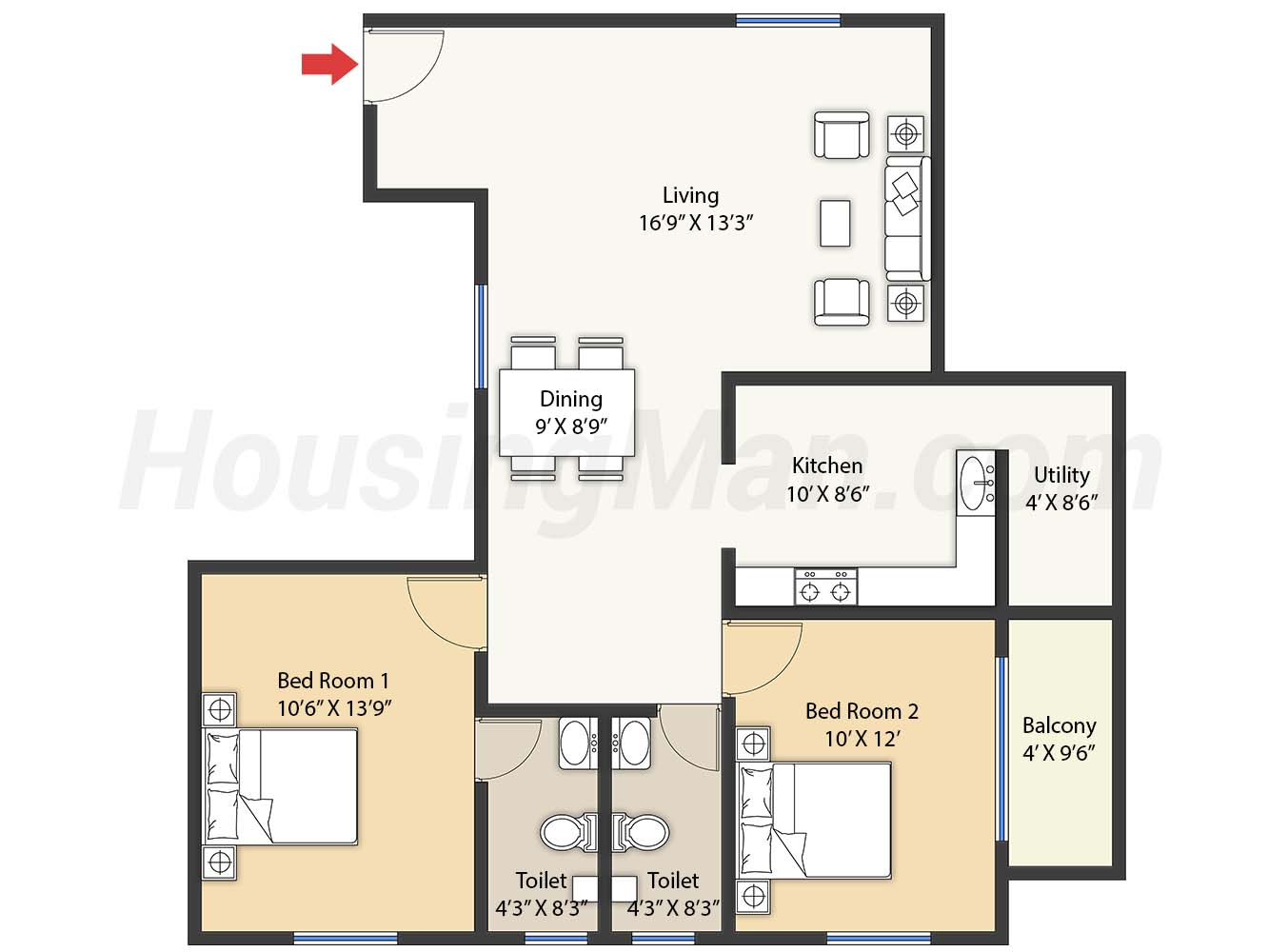 2bhk 2t 1245 t