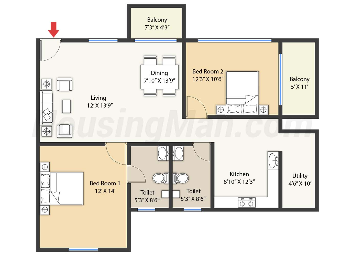 2bhk 2t 1330 t