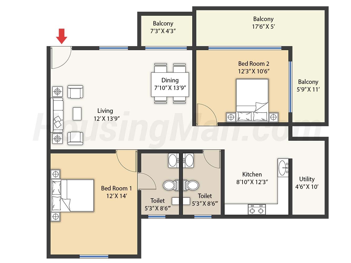 2bhk 2t 1450 t