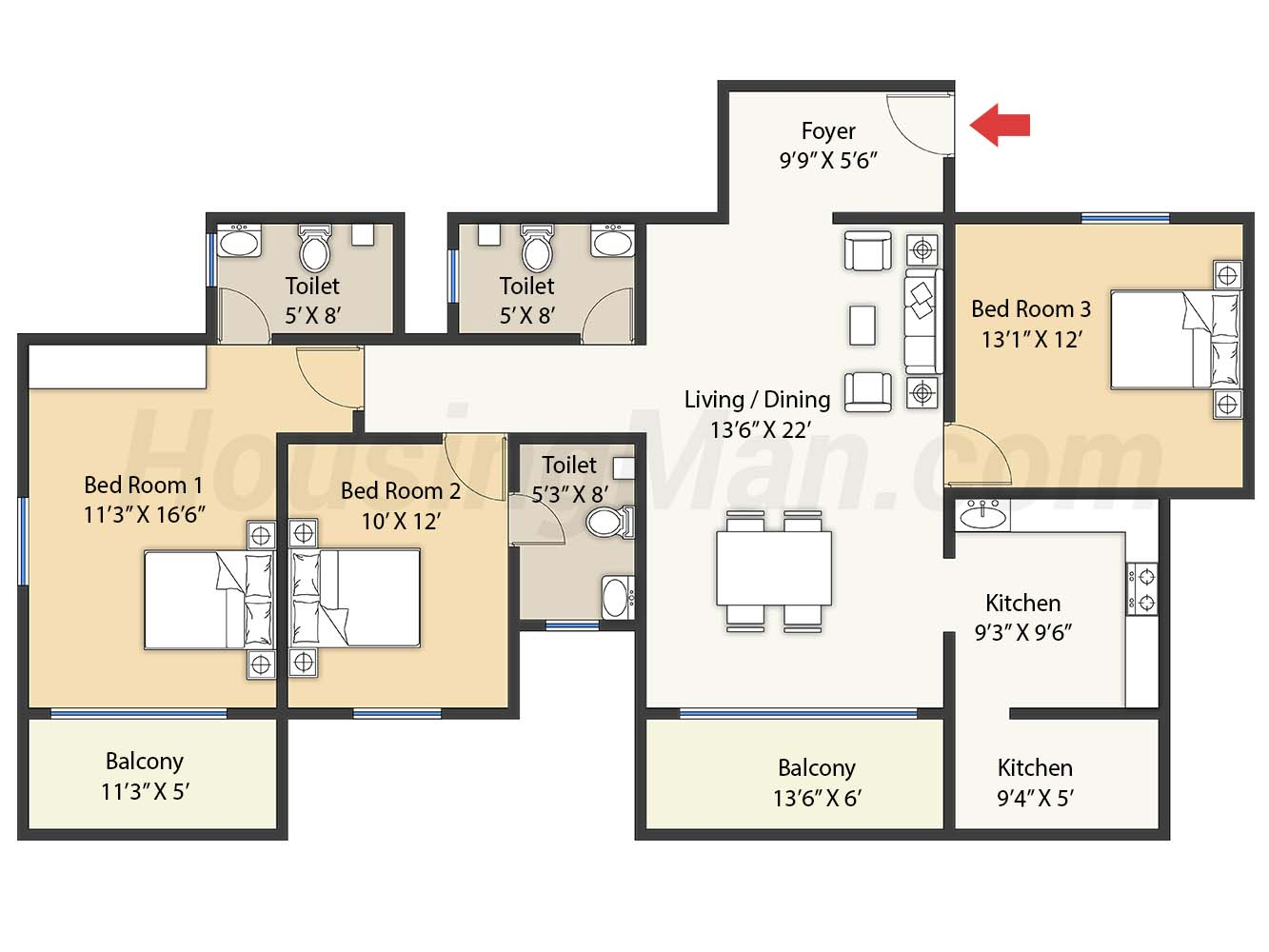 3bhk 3t 1745 t