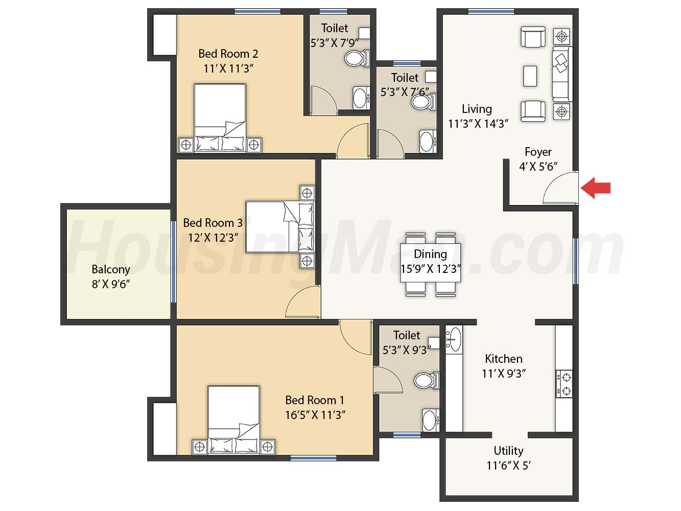 3bhk 3t 1770 t