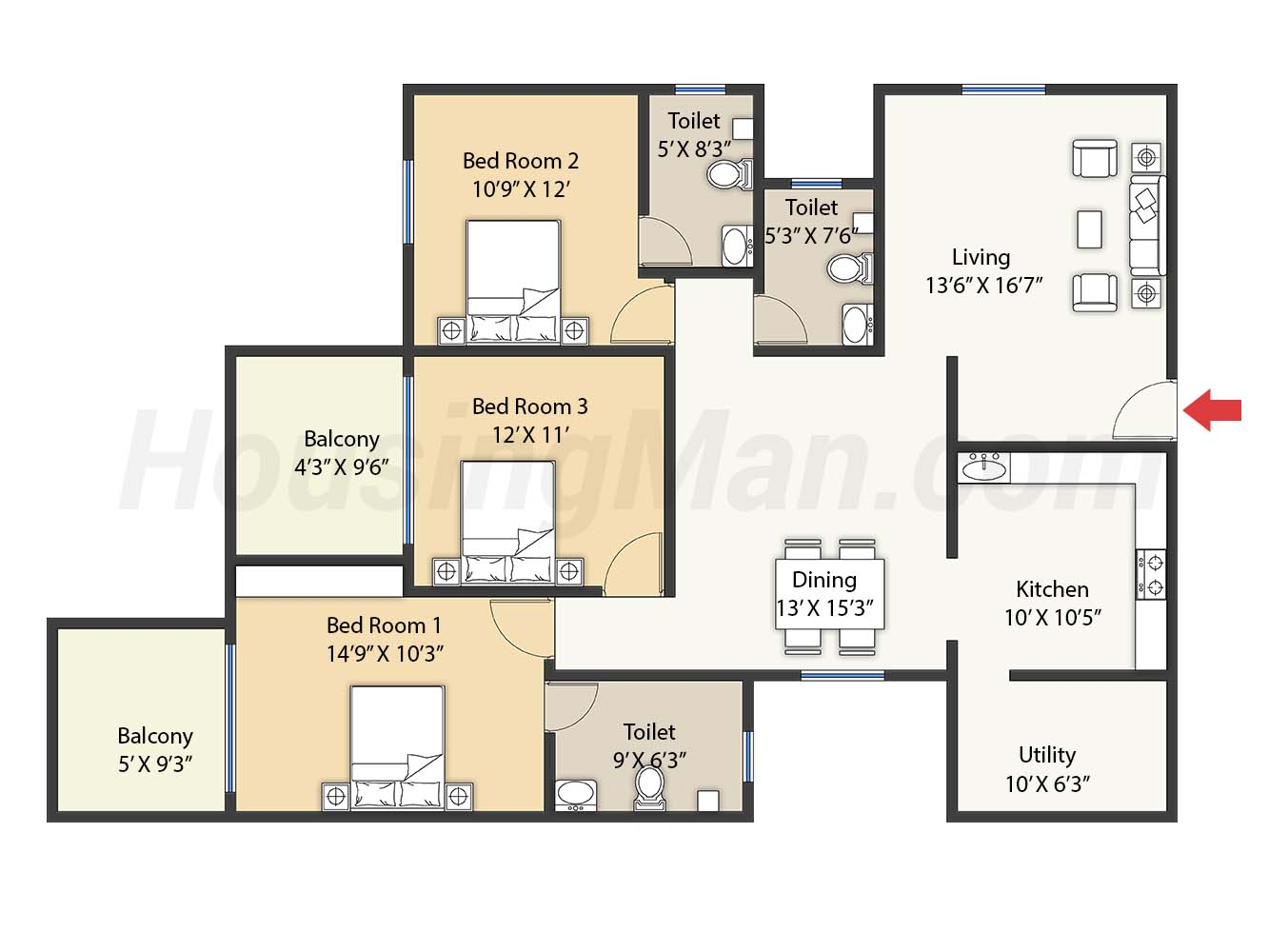 3bhk 3t 1805 t