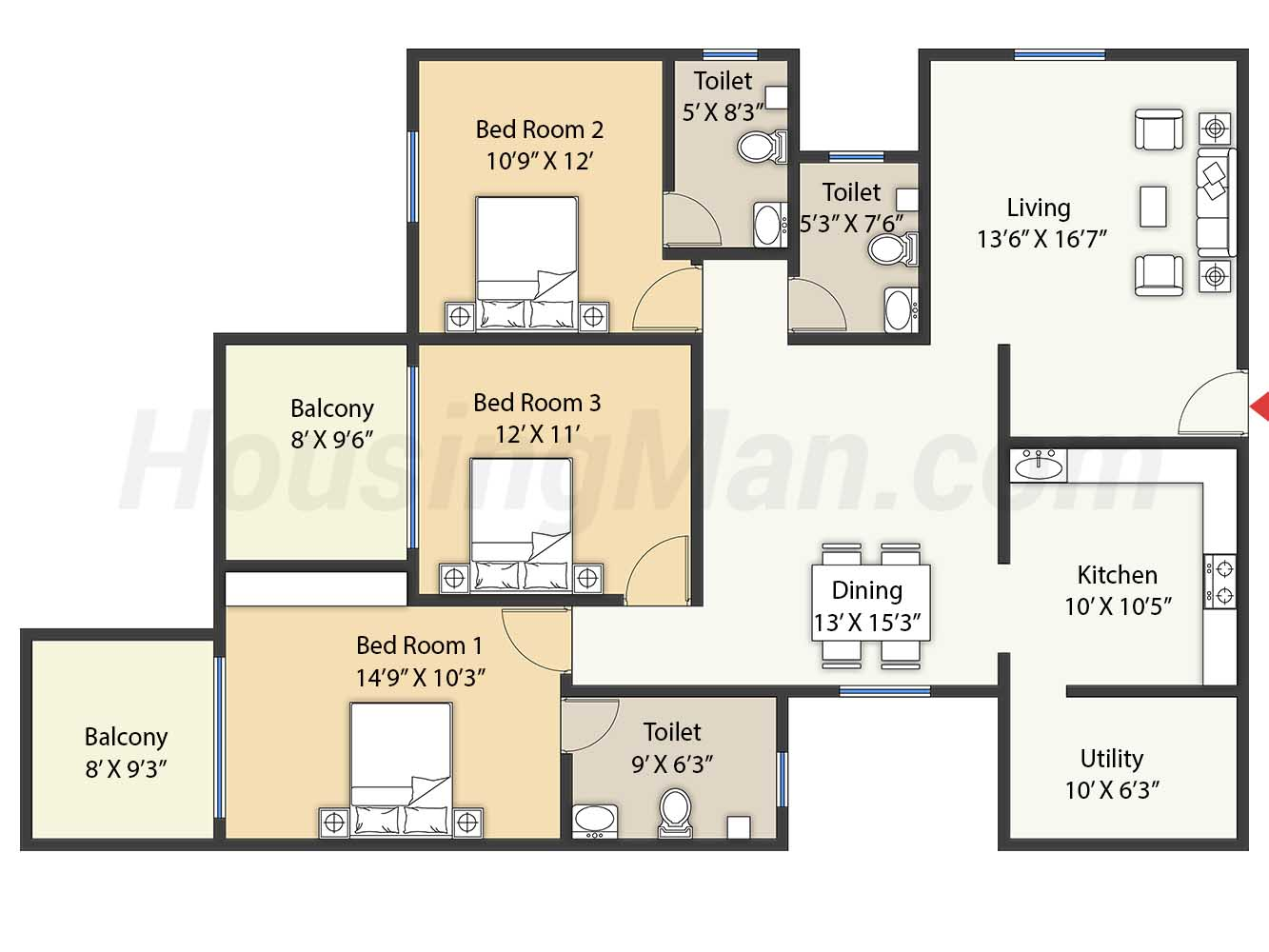 3bhk 3t 1890 t