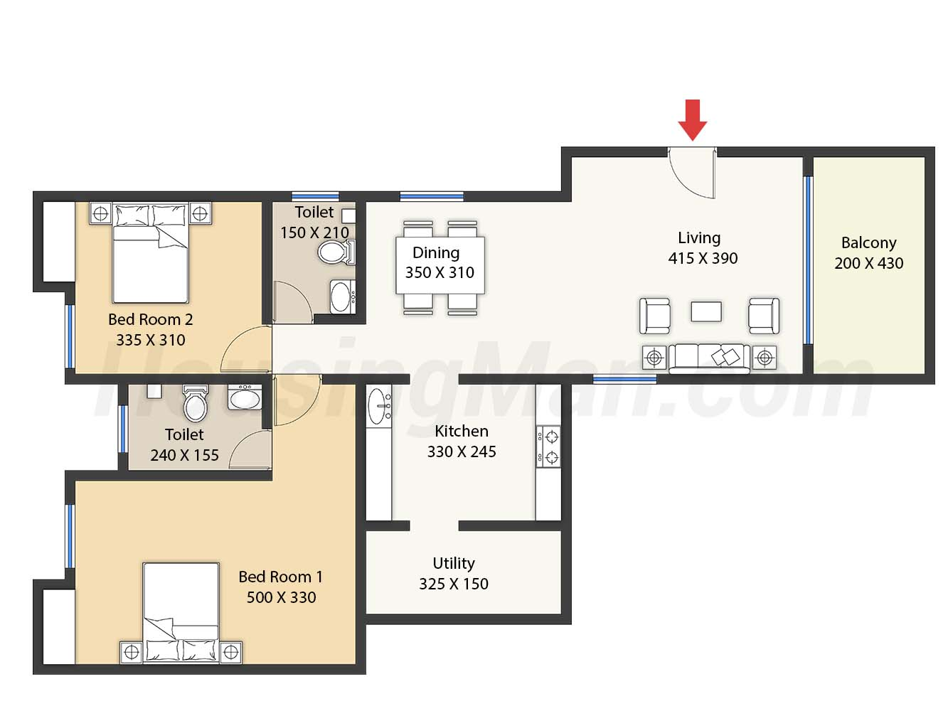 2bhk 2t 1320 t