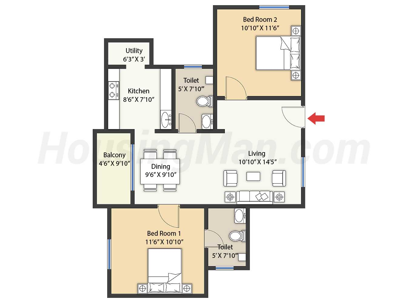 2bhk 2t 1030 t