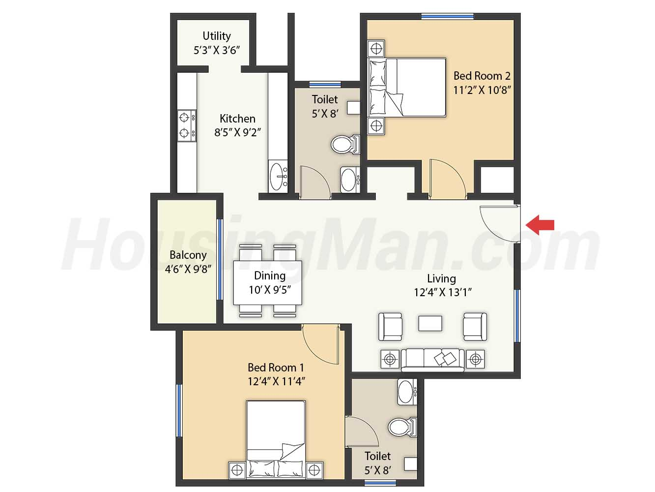 2bhk 2t 1100 t