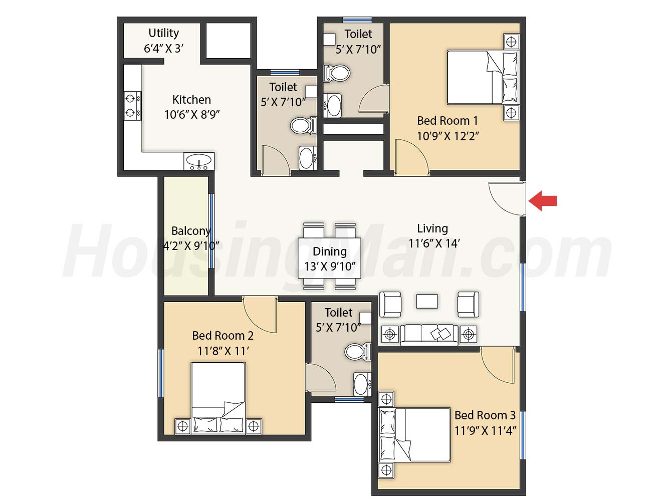 3bhk 3t 1400 t